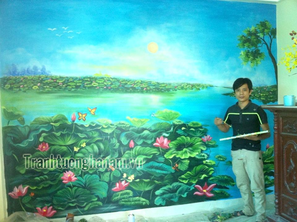 Tranh sen phòng thờ tại Phủ Lý – Hà Nam